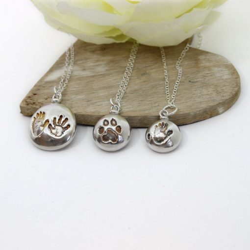Double Sided Silver pet paw print pendant