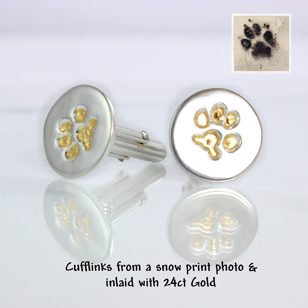 silver pet paw print cuff links