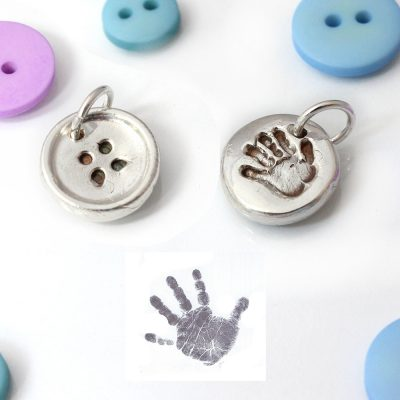 personalised silver button