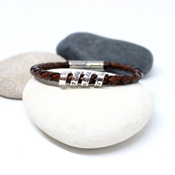 Personalised leather & silver scroll bracelet