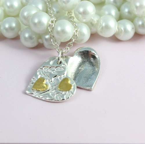 Silver fingerprint locket necklace