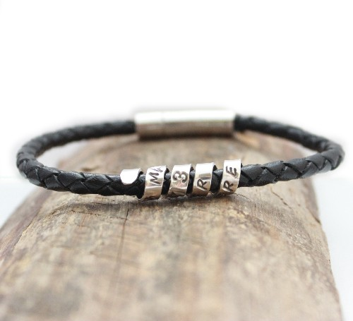 Leather bracelet with message charm