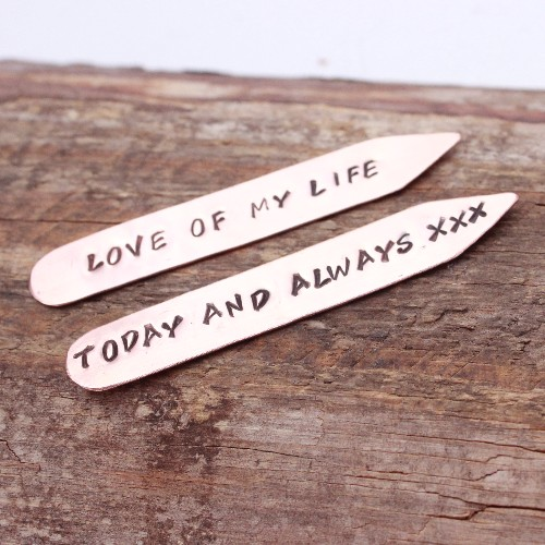 personalised copper collar stiffeners