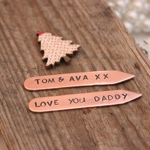 Personalised Copper Collar Stays