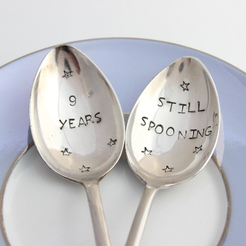 Personalised silver anniversary spoon