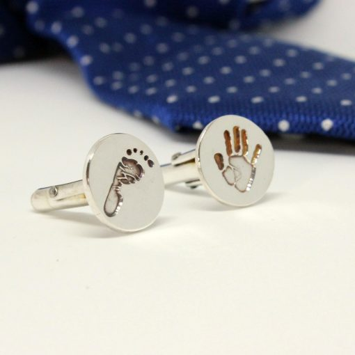 silver handprint cuff links