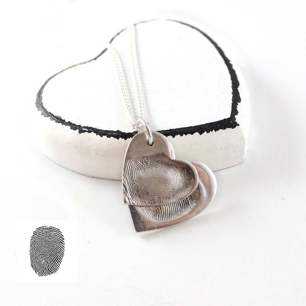 descending double silver fingerprint pendant