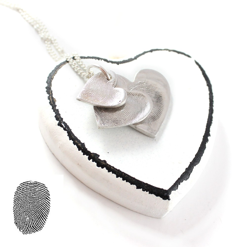 Silver fingerprint Cascade Necklace