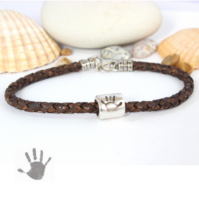 gents leather bracelet & Hand Print Bead