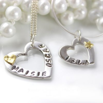 personalised silver & gold heart
