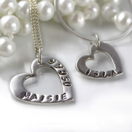 Silver name heart necklace