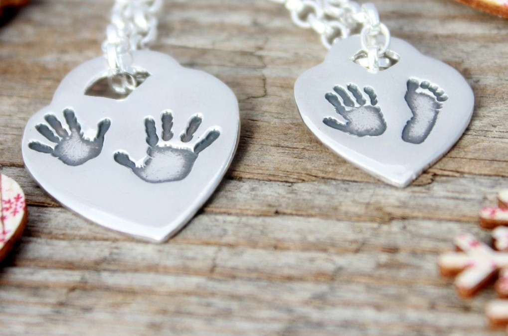 Silver Handprint Tiffany Hearts