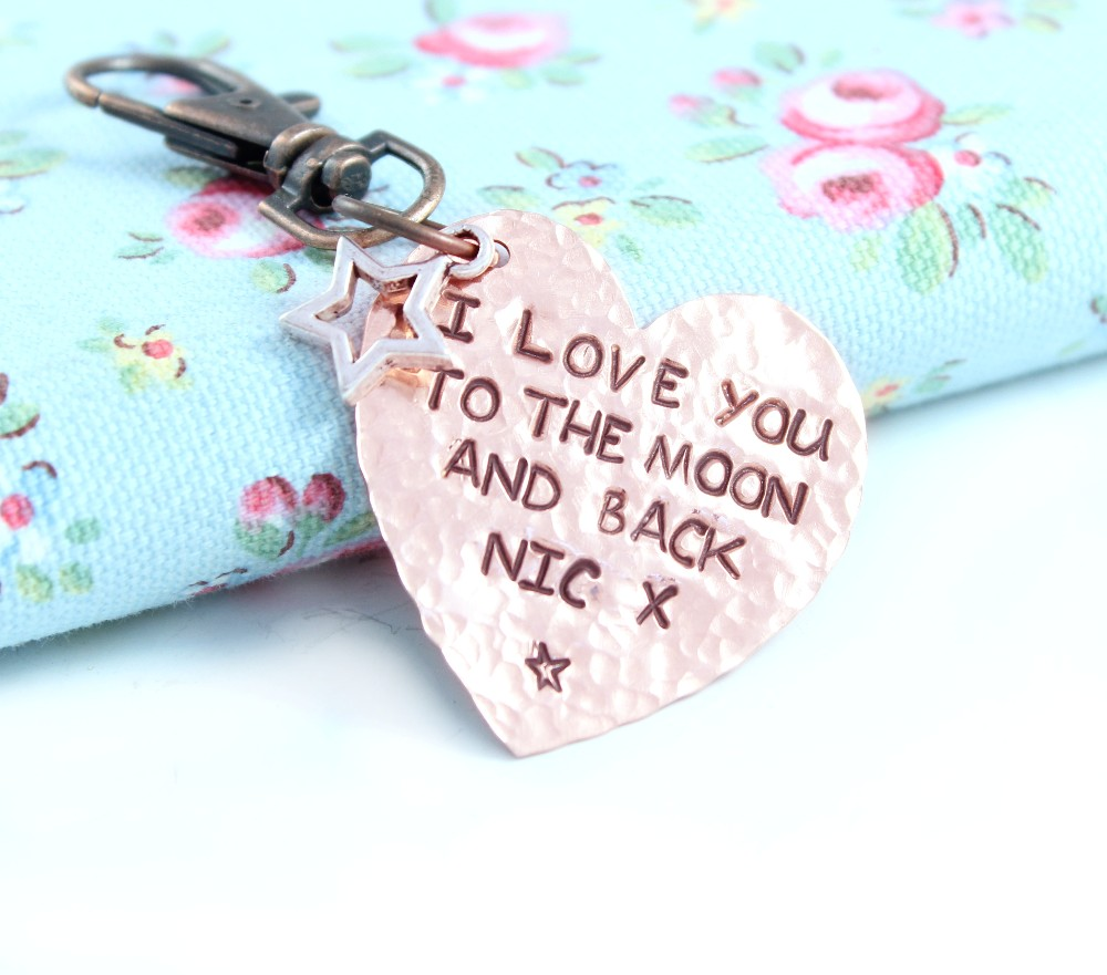Personalised Copper Heart key ring