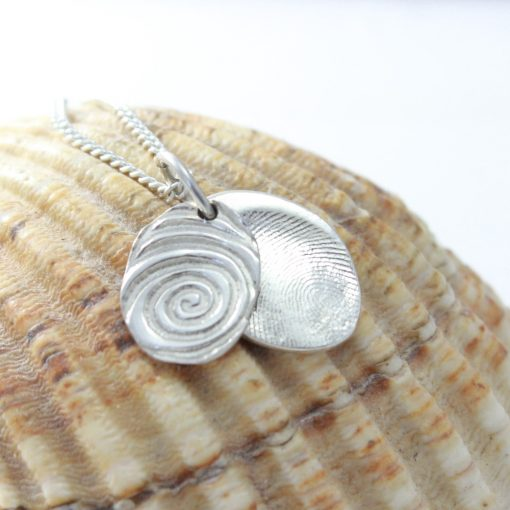 Oval Silver fingerprint Necklace