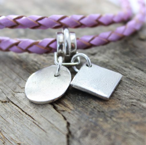 ladies leather bracelet & silver fingerprint charms