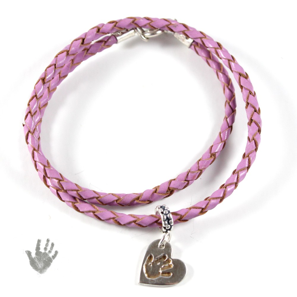ladies leather bracelet and silver handprint charm 3