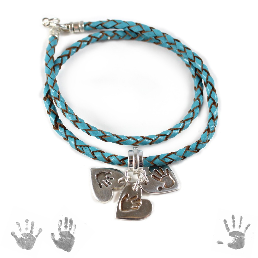 ladies leather bracelet _ handprint charms