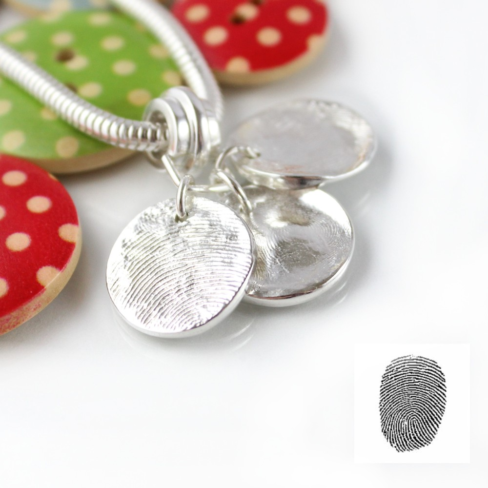 Silver fingerprint charms for pandora