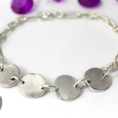 silver linked fingerprint bracelet