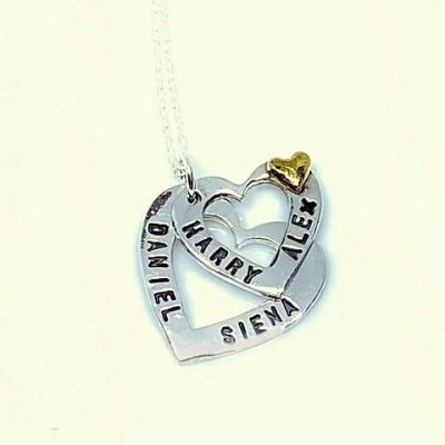 personalised silver cascade heart necklace