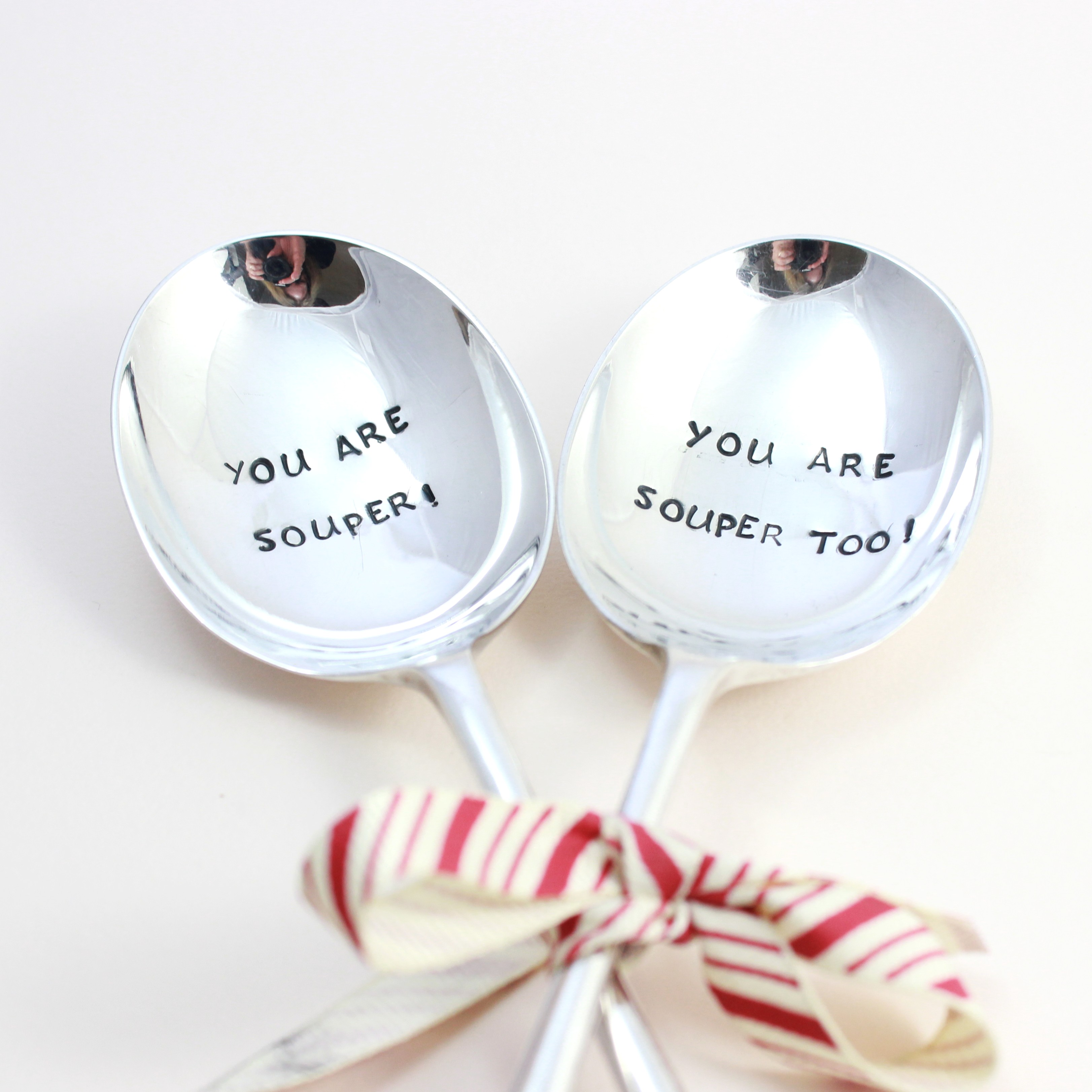 Silver platedpersonalised soup spoons - fab gift for a couple!