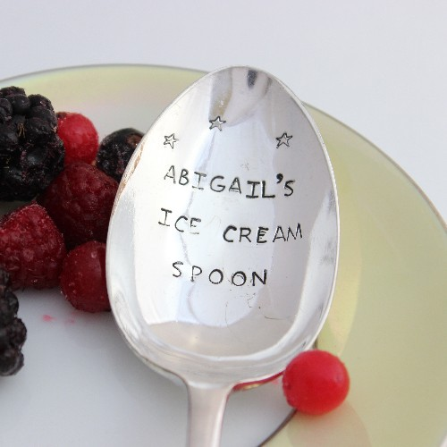 personalised silver ice cream spoon