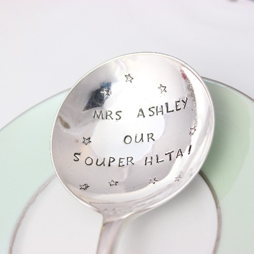 Personalised silver soup spoon