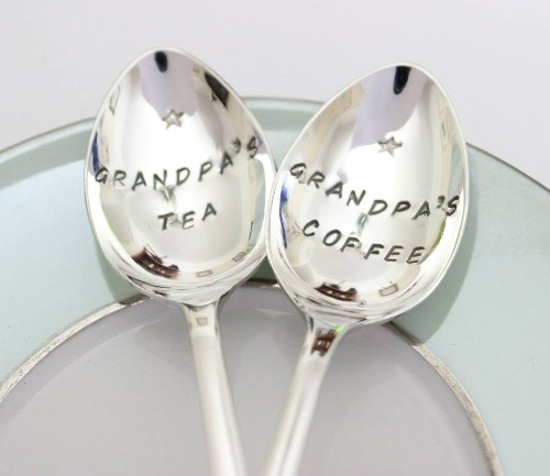A perfect pressie for somebody special or a couple, a pair of personalised silver plated tea spoons hand stamped with your message!