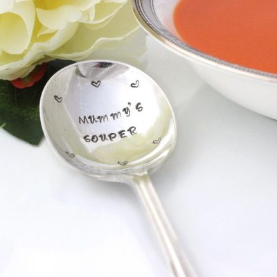 personalised silver plated soup spoon