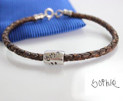 gents leather bracelet & silver signature bead