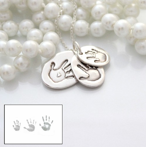 Silver Hand Print Jewellery for 3 children