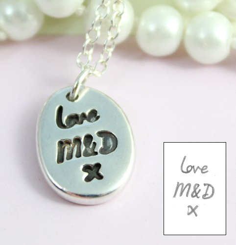 Silver necklace with handwriting