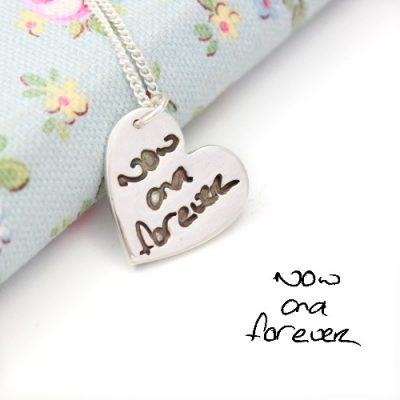 silver handwriting and signature pendant by impressions to keep
