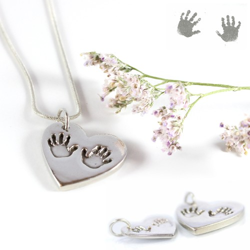 Chunky hand print and foot print pendant by Impressions to Keep