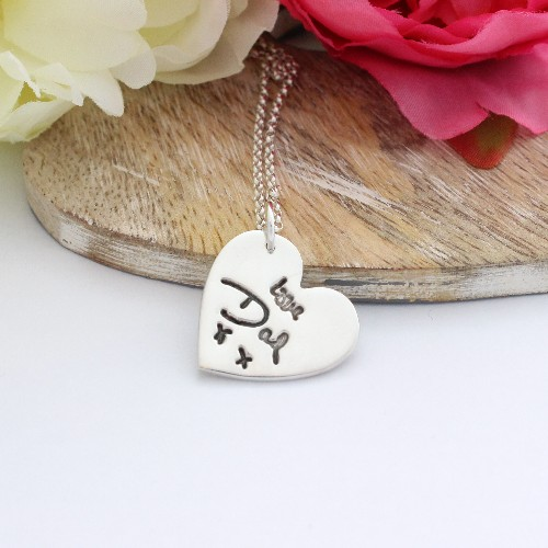 silver hand writing pendant, silver Memorial jewellery