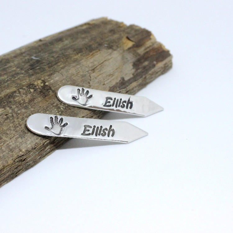 silver hand print collar stiffeners