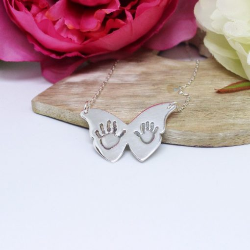 silver Butterfly hand print necklace - hand print jewellery