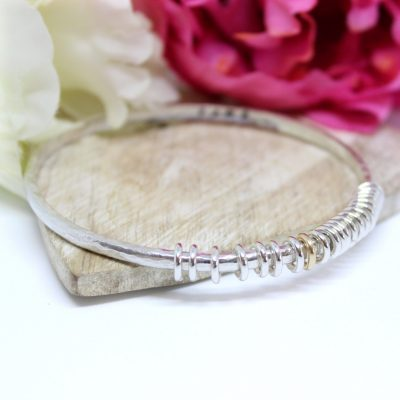 silver milestone personalised memory bangle