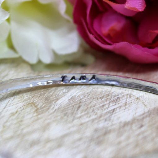 personalised secret message silver bangle