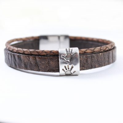 Gents leather bracelet & silver handprint bead