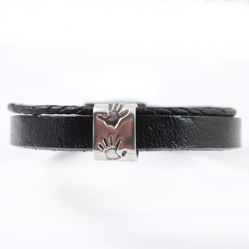 Gents leather and silver hand print bracelet