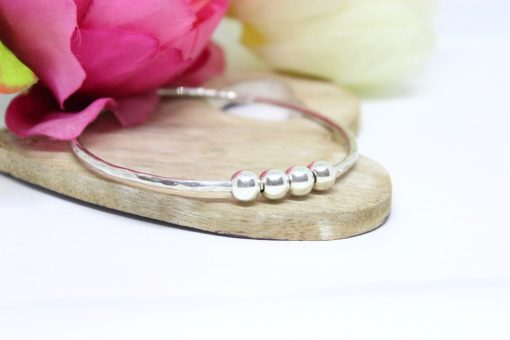 Personalised silver Bangle with milestone beads