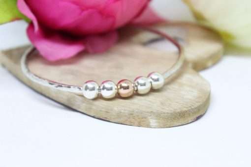 Personalised silver Bangle with silver & gold beads