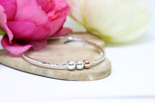 Personalised Bangle with silver & gold beads