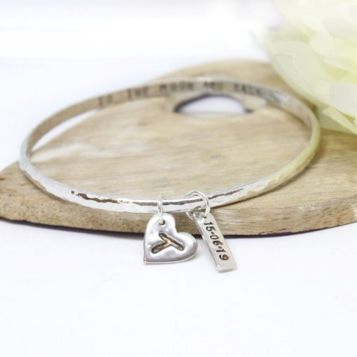 personalised silver bangle with initial charm