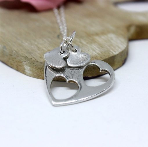 Mother and Daughters silver heart necklace