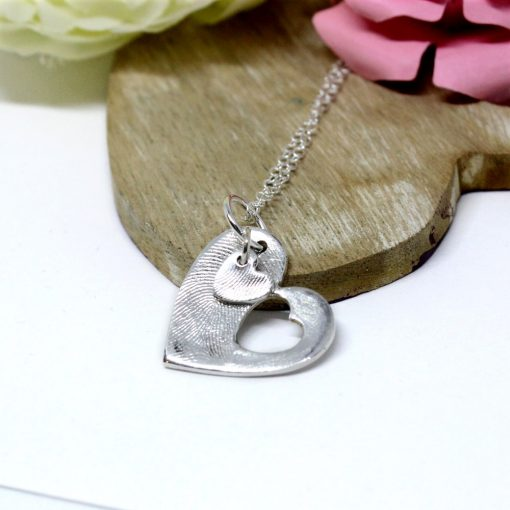 Silver fingerprint heart necklace mother and child