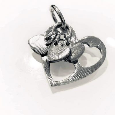 Silver fingerprint cut out heart pendant
