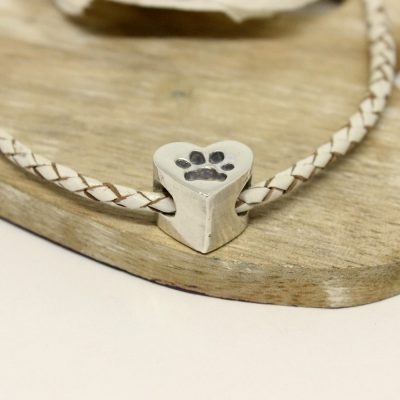 silver heart paw print charm for pandora