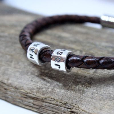 gents bracelet with silver name beads